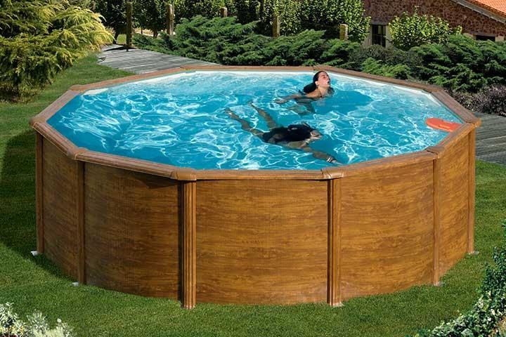 stahlwandpool rund holzoptik schwimmbad und saunen. Black Bedroom Furniture Sets. Home Design Ideas