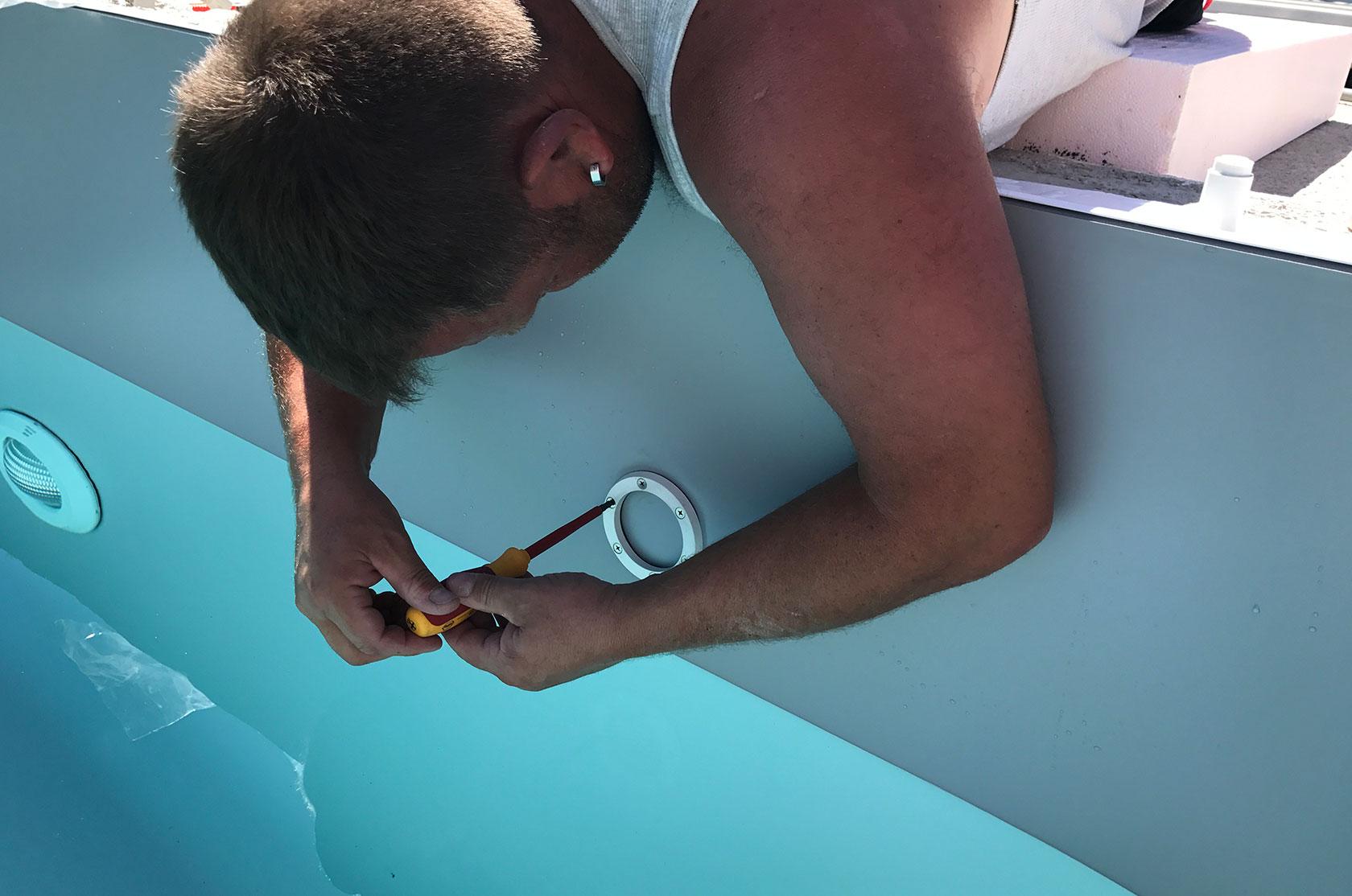 Poolfolie f r styroporpool 900 x 500 x 150 cm mit for Poolfolie montieren