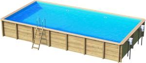 Holzpool Odyssea Rechteck, 800 x 400 x 146 cm, Komplettset