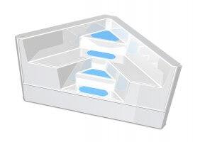 GFK-Ecktreppe, Farbe blau mit weißen Stufen