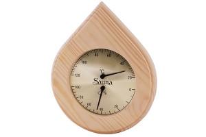 Thermo-Hygrometer Nadelholz, Tropfenform