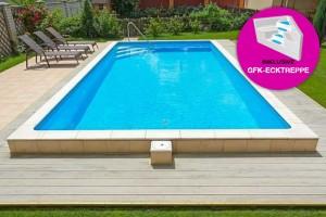 Styropor Pool 800 x 400cm Komplettset mit GFK-Ecktreppe