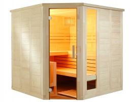 Massivholzsauna Komfort Corner, 206x206x204 cm, 3 Personen